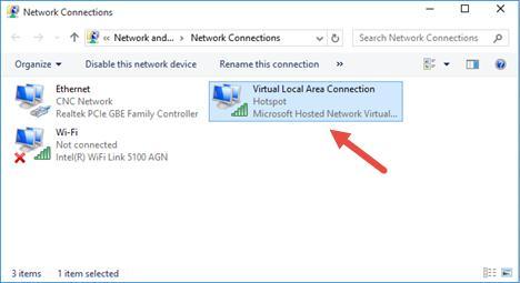 Hotspot - адаптер Virtual Local Area Connedction