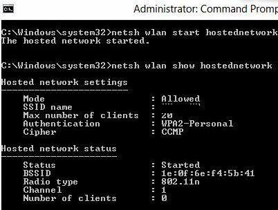 Netsh wlan show hostednetwork - настройки размещенной сети