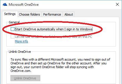 Автоматически запустить OneDrive при входе в Windows