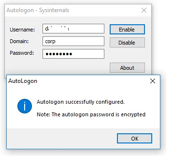 Успешно включен автологон в Windows 10