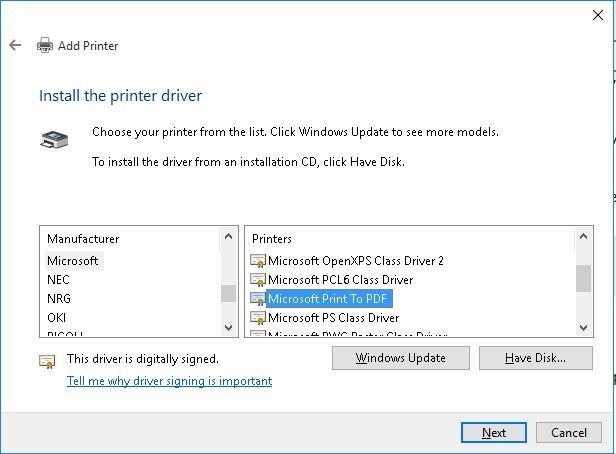 Установка драйвера Microsoft Print to PDF