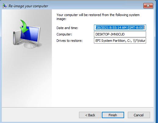 начать восстановление образа Windows 10 из бэкапа