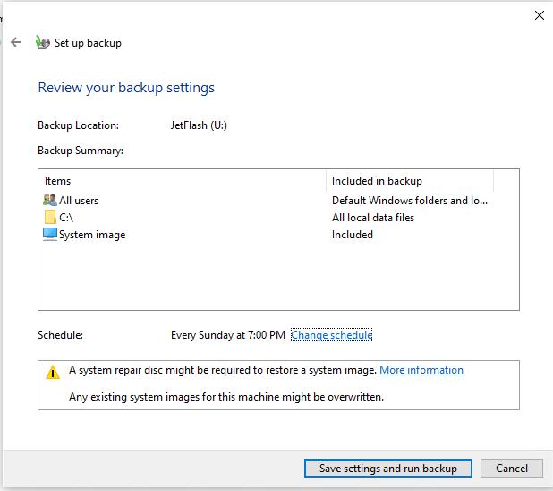 настройка планировщика резевного копирования образа Windows 10