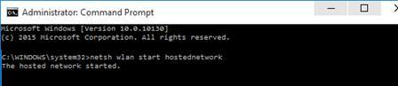 netsh wlan start hostednetwork - запуск сети