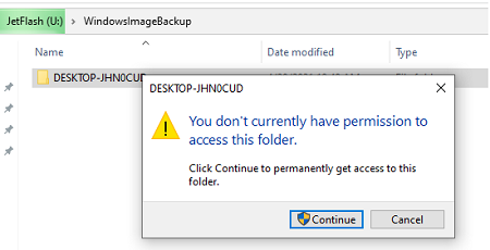 права на папку WindowsImageBackup