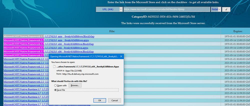 прямые ссылки на загрузку appx файлов uwp приложений windows 10