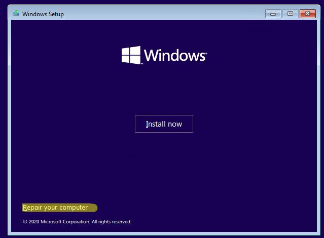 repair your computer в windows pe