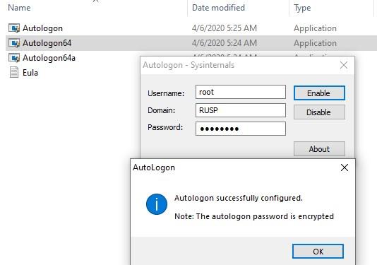 утилита sysinternal autologon для настройки входа в windows без пароля