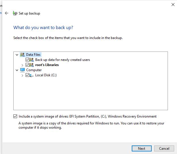 выберите что добавить в резевную копию образа windows