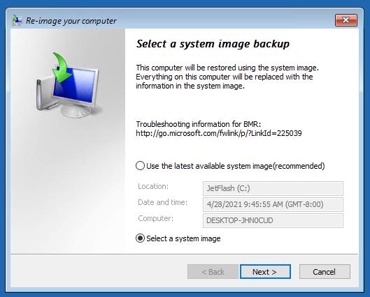 выберите образ Windows для восстановления