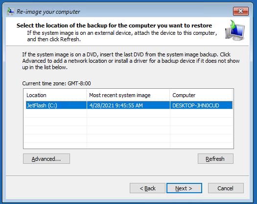 выбрать резевную копию Windows