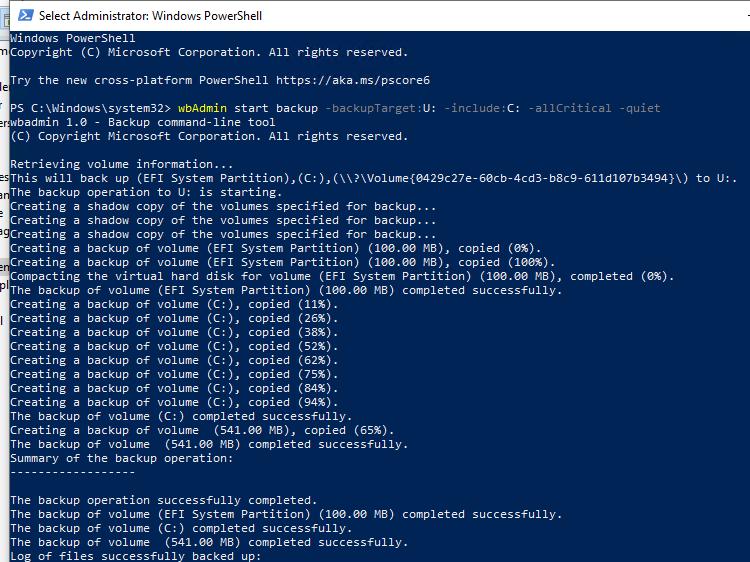 wbAdmin start backup - создать резевную копию Windows из командной строки