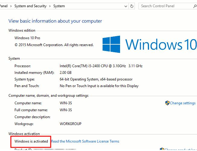 Window 10 проверка статуса активации