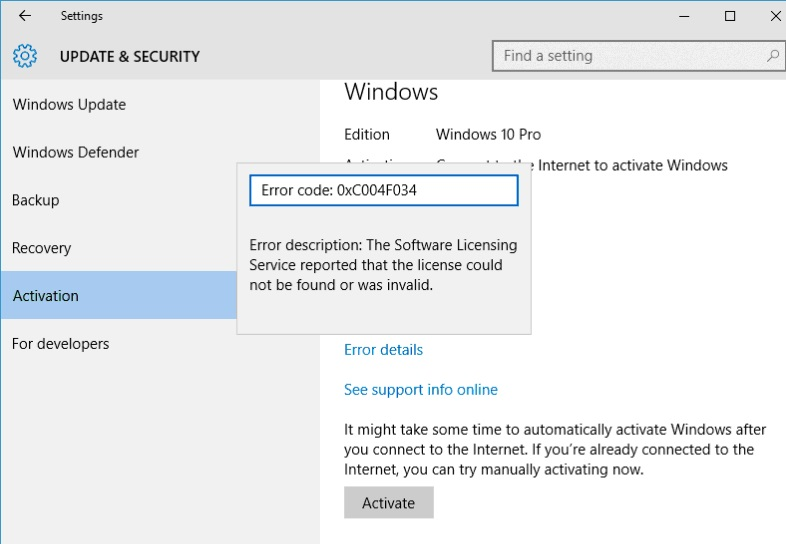 Ошибка активации Windows 10 0xC004F034
