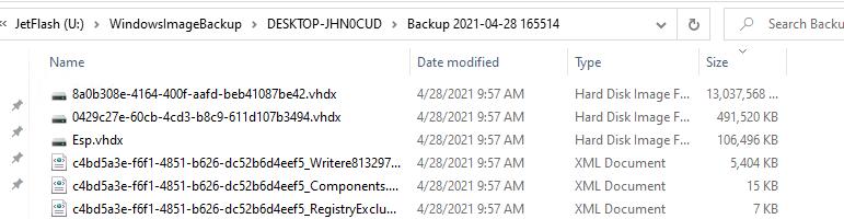 WindowsImageBackup - каталог с резевной копией Window 10