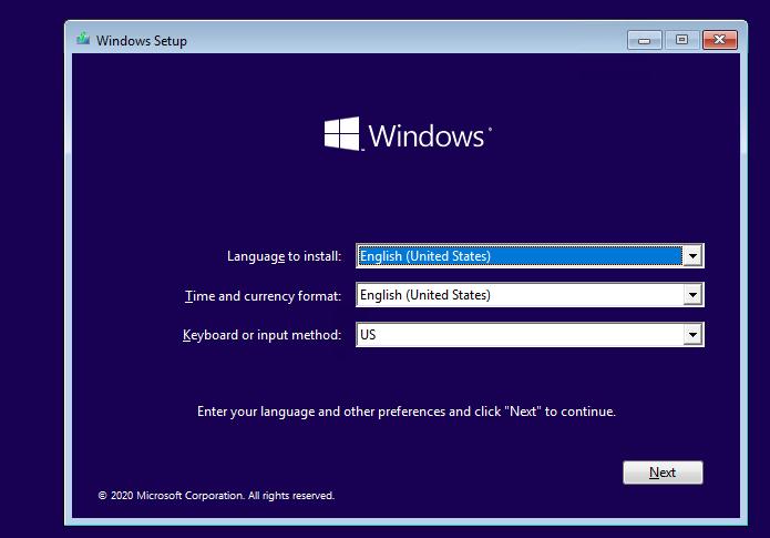 загрузка с установочного диска Windows