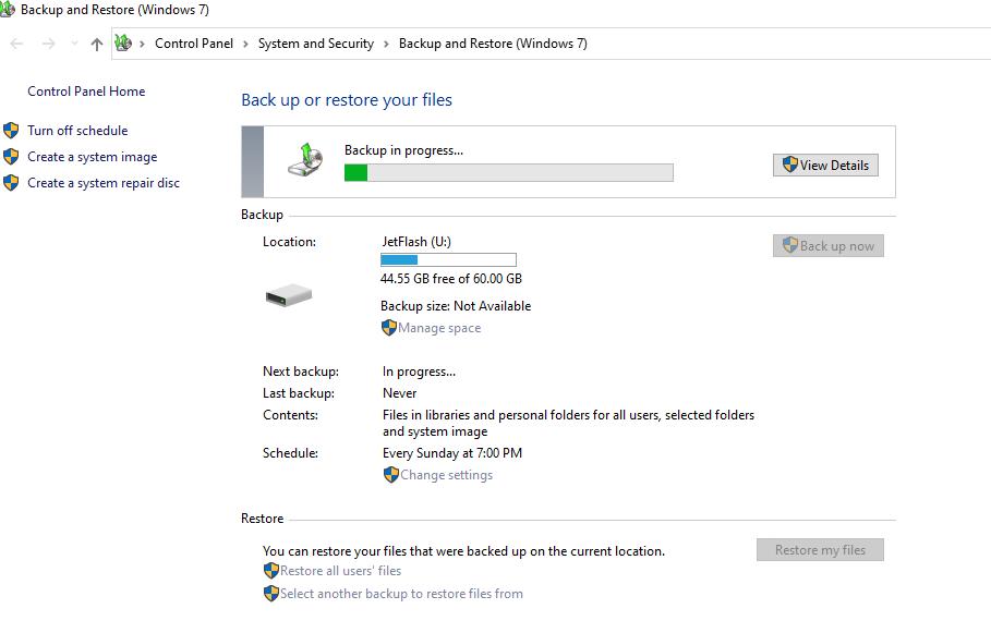 запуск резевного копирования Windows через Backup and Restore