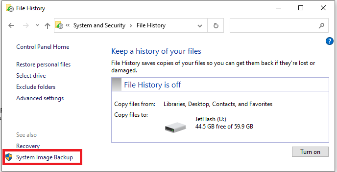 Запуск Sytem Image Backup в Windows 10