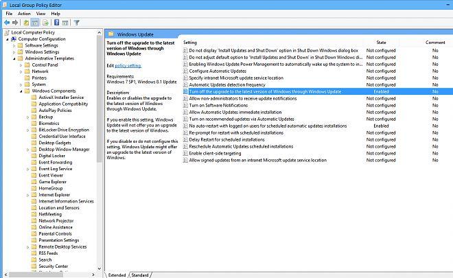 Отключить обновление до последней версии Windows через Центр обновления Windows