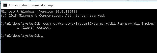 Создадим резевную копию файла termsrv.dll