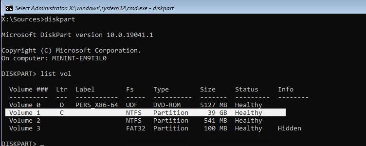diskpart определить диск с windows