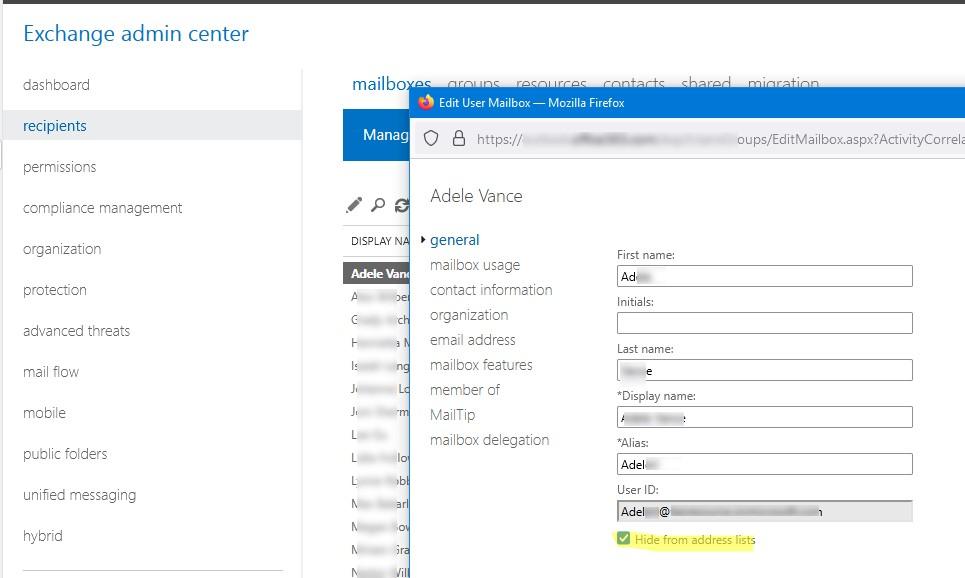 exchange admin center скрыть пользователя или группы рассылки из адресной книги