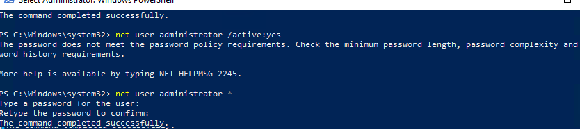 изменить пароль локального администратора в Windows 10 из cmd