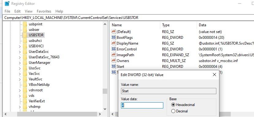 отключить службу USBSTOR в windows 10 через реестр