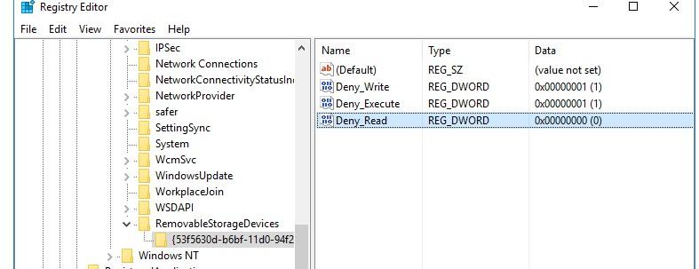 политика ограничения RemovableStorageDevices в реестре
