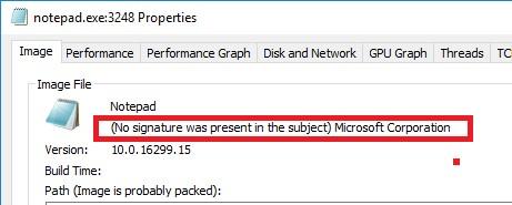ошибка проверки сигнатур у встроенных windows программ No signature was present on the subject Microsoft Corporation
