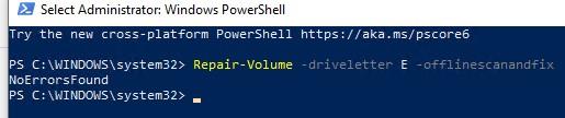 Repair-Volume проверка ошибок на диске с помощью powershell