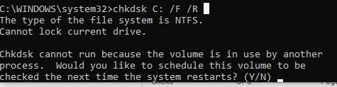 chkdsk системный диск заблокирован, запланировать его проверку при следующей перезагрузке