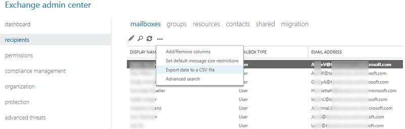 exchnage admin center экспорт списка адресов в CSV файл