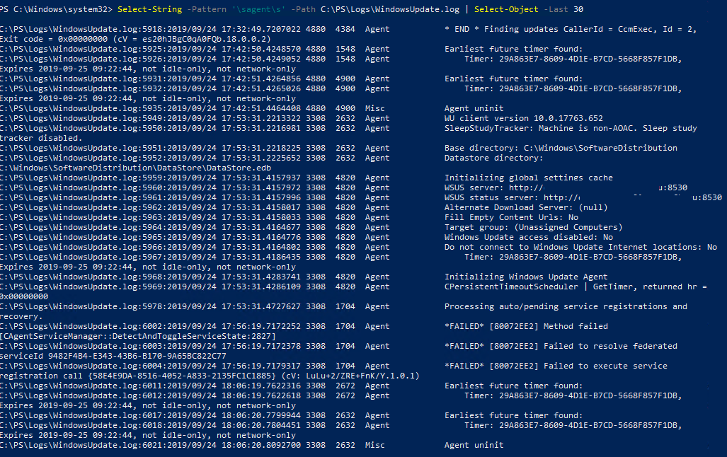 фильтрация WindowsUpdate.log с помощью powershell