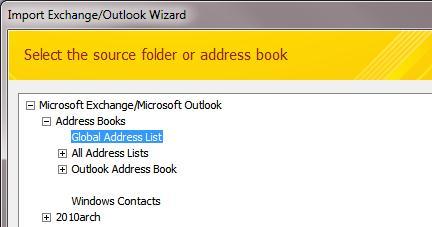 Импорт глобального списка адресов Exchange в Outlook