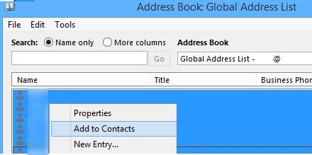 добавить адреса из глобального списка адресов в контакты outlook