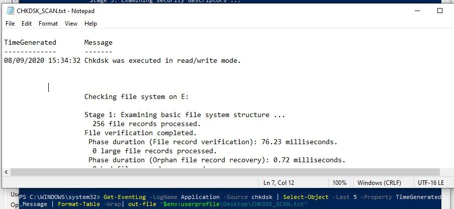 powershell получить лог проверки диска chkdsk при загрузке windows 10