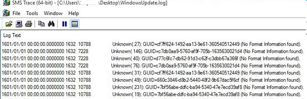 Unknown ( 10): (No Format Information found) - WindowsUpdate.log