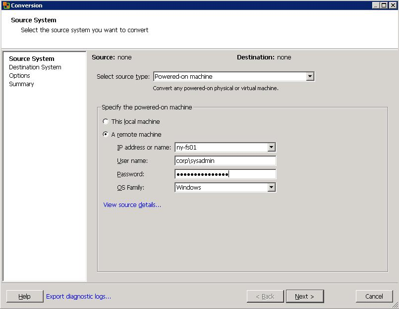 VMware Converter Standalone - исходный сервер