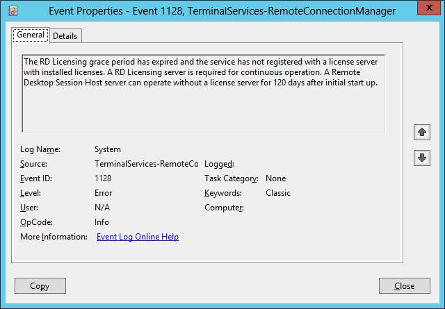 A Remote Desktop Session Host server can operate without a license server for 120 days after initial start up