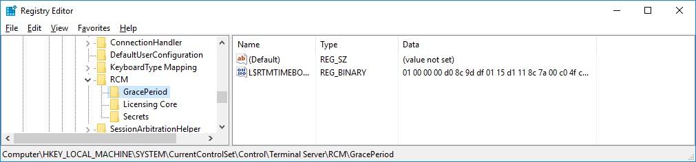 L$RTMTIMEBOMB ключ, в котором считается grace period работы терминального сервера rds
