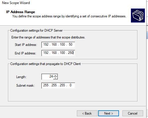 диапазон IP адресов области DHCP