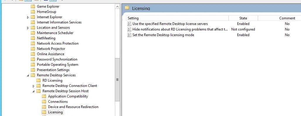 групповая политика для настройки параметров лицнезирования Remote Desktop Services