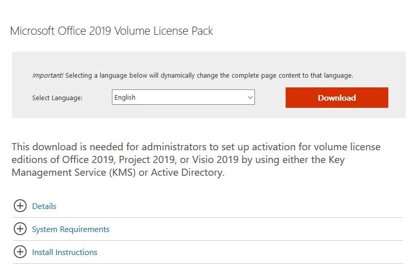 ms office 2019 volume license pack - скачать и установить на kms сервере