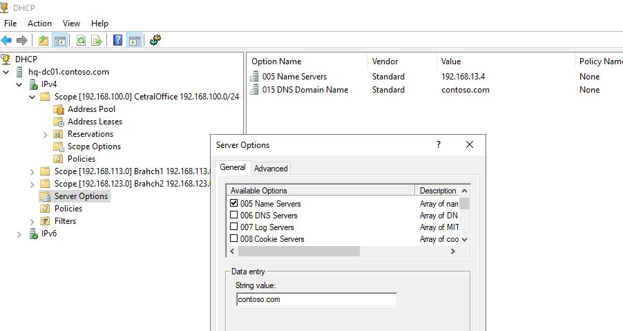 настроить параметры DHCP сервера