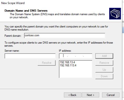настройки DNS для DHCP области