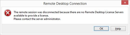 The remote session was disconnected because there are no Remote Desktop License Servers available to provide a license