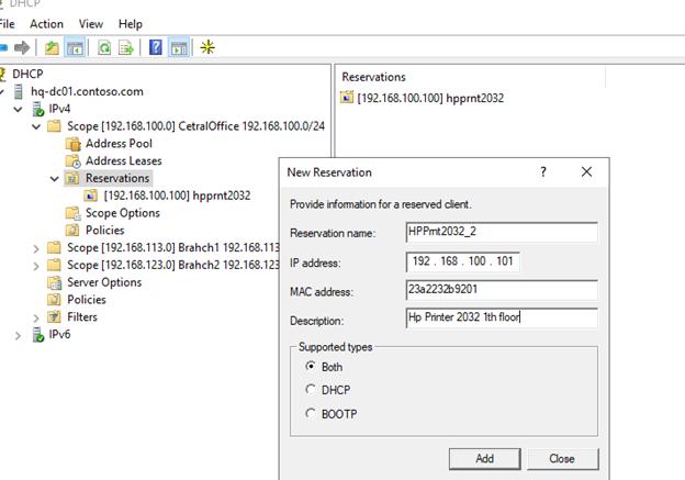 Укажите MAC адрес устройства для резервации IP адреса на DHCP