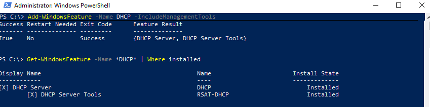 установка DHCP сервера с помощью powershell