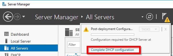 выберите Complete DHCP configuration